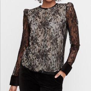 EXPRESS x KARLA | puff sleeve lace & velvet top